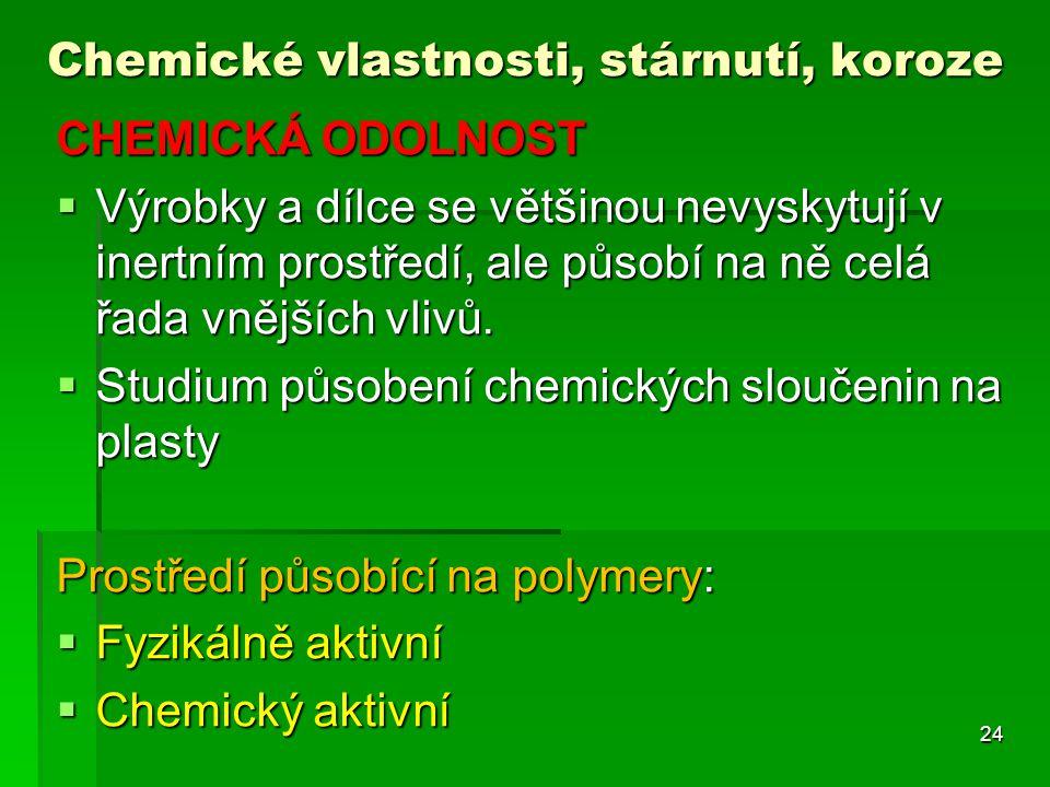 Chemické vlastnosti, stárnutí, koroze