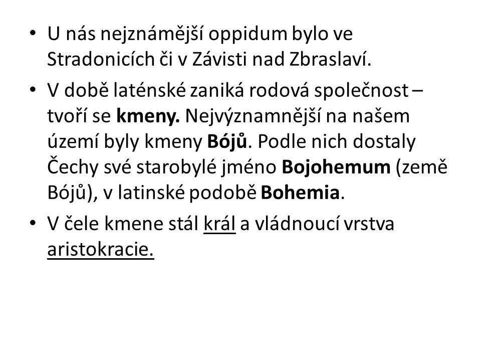 U nás nejznámější oppidum bylo ve Stradonicích či v Závisti nad Zbraslaví.