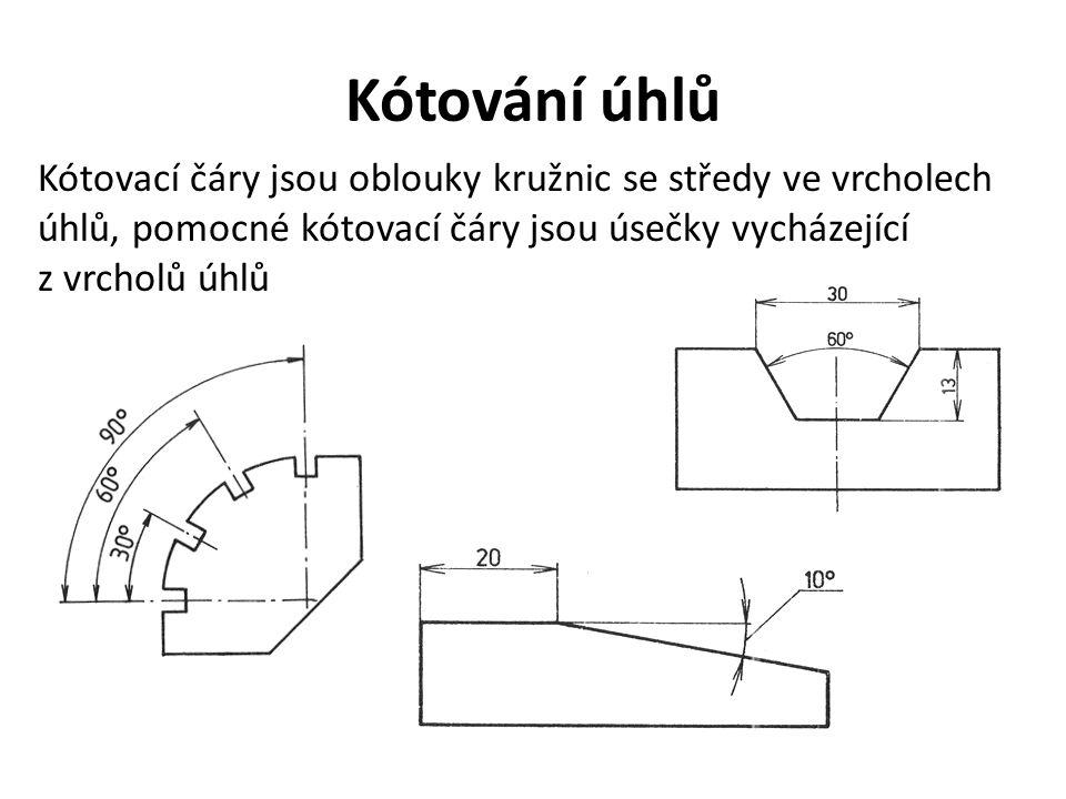 Kótování úhlů Kótovací čáry jsou oblouky kružnic se středy ve vrcholech úhlů, pomocné kótovací čáry jsou úsečky vycházející.