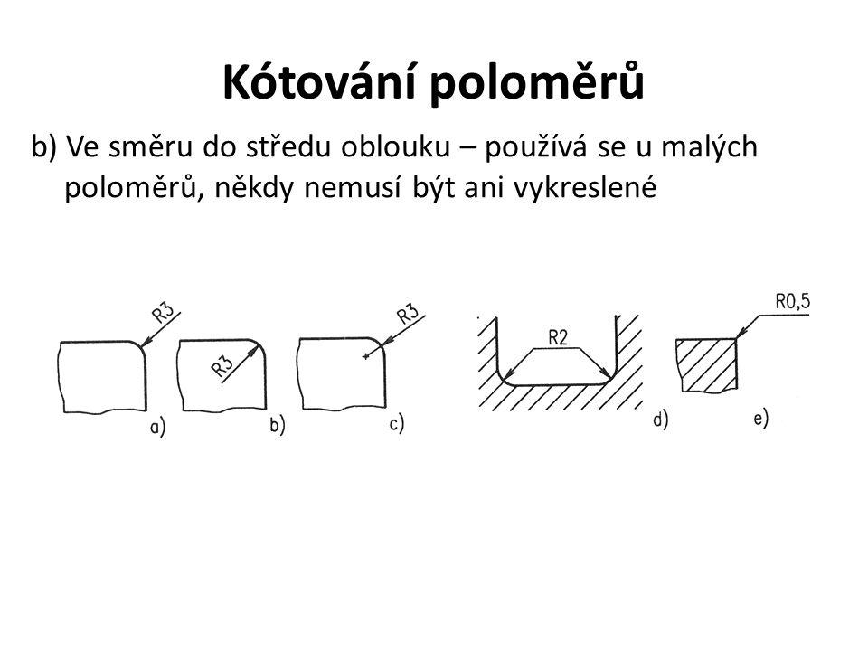 Kótování poloměrů b) Ve směru do středu oblouku – používá se u malých poloměrů, někdy nemusí být ani vykreslené.