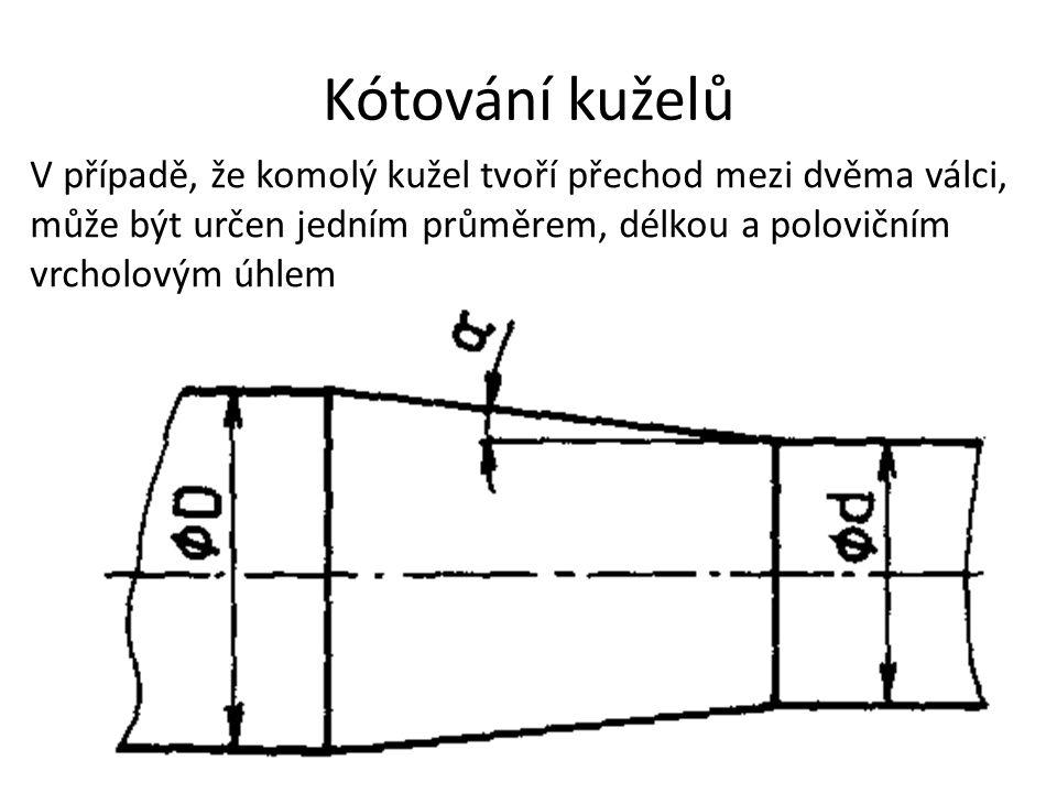 Kótování kuželů V případě, že komolý kužel tvoří přechod mezi dvěma válci, může být určen jedním průměrem, délkou a polovičním vrcholovým úhlem.