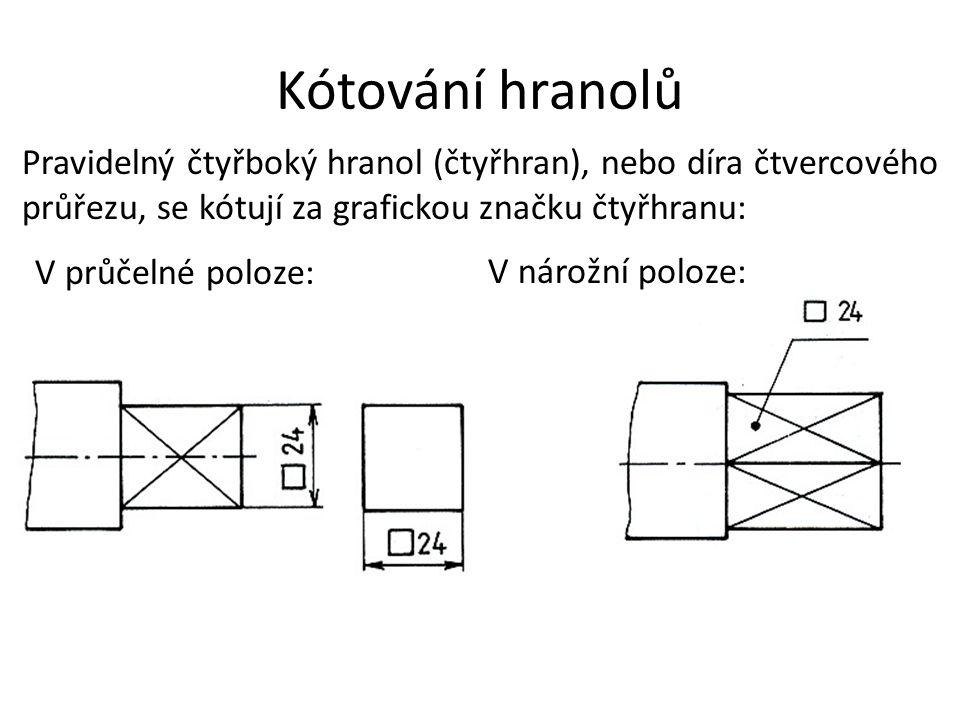 Kótování hranolů Pravidelný čtyřboký hranol (čtyřhran), nebo díra čtvercového průřezu, se kótují za grafickou značku čtyřhranu: