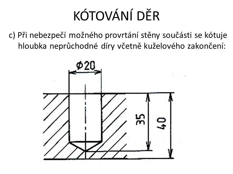 KÓTOVÁNÍ DĚR c) Při nebezpečí možného provrtání stěny součásti se kótuje hloubka neprůchodné díry včetně kuželového zakončení: