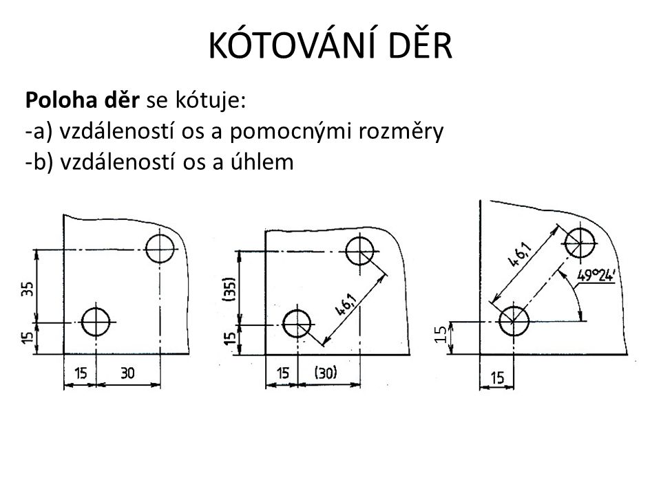 KÓTOVÁNÍ DĚR Poloha děr se kótuje: