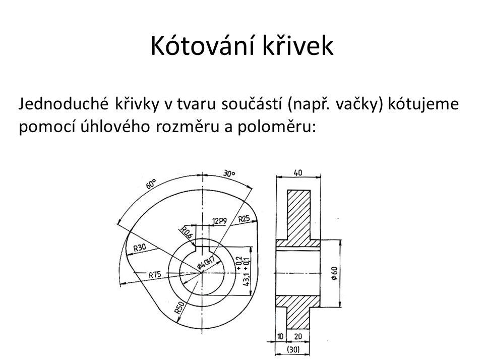Kótování křivek Jednoduché křivky v tvaru součástí (např.