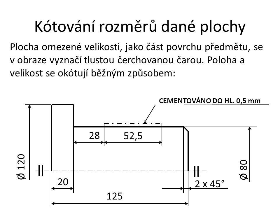 Kótování rozměrů dané plochy
