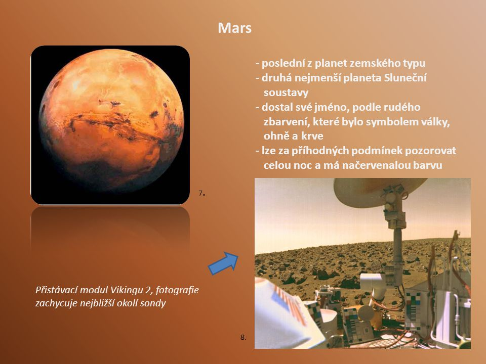 Mars poslední z planet zemského typu druhá nejmenší planeta Sluneční