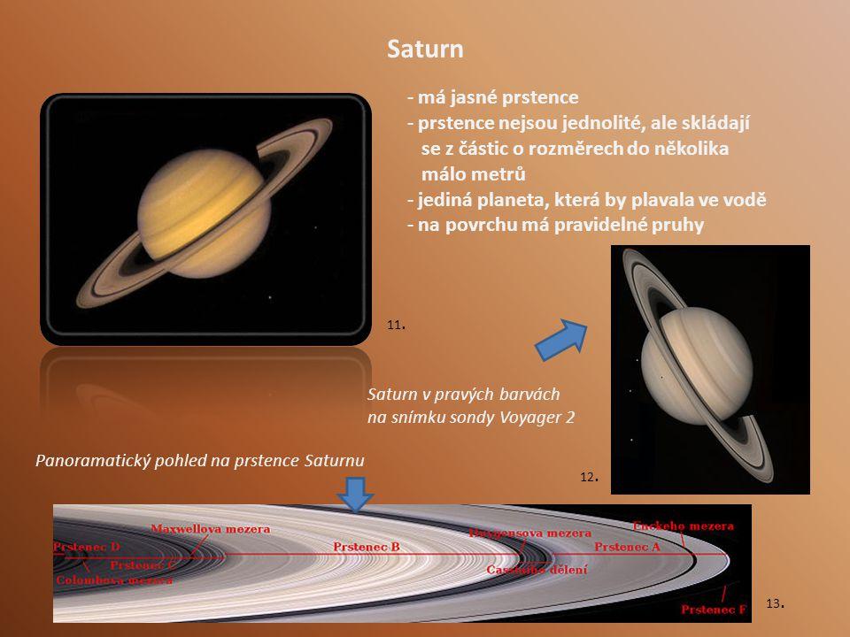 Saturn má jasné prstence prstence nejsou jednolité, ale skládají