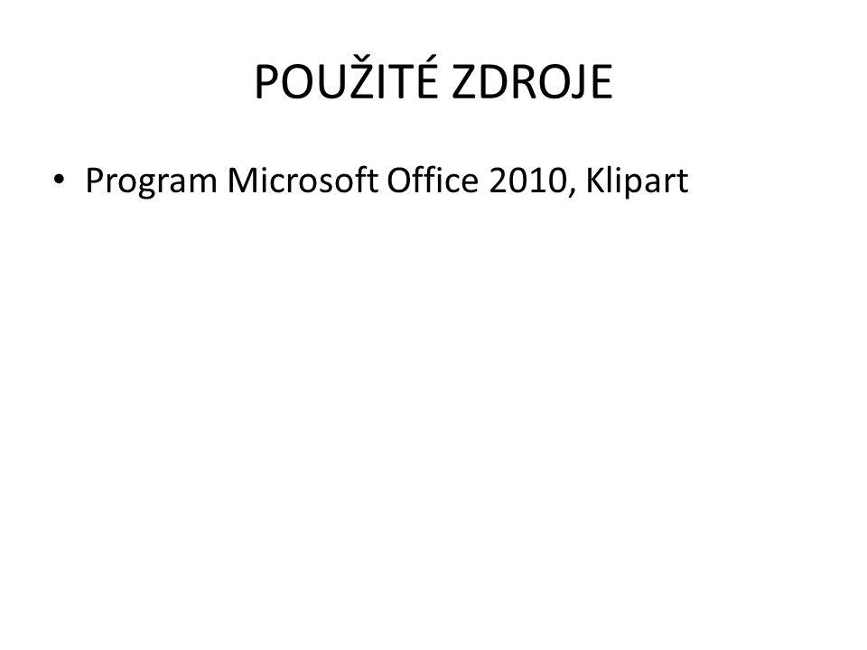 POUŽITÉ ZDROJE Program Microsoft Office 2010, Klipart