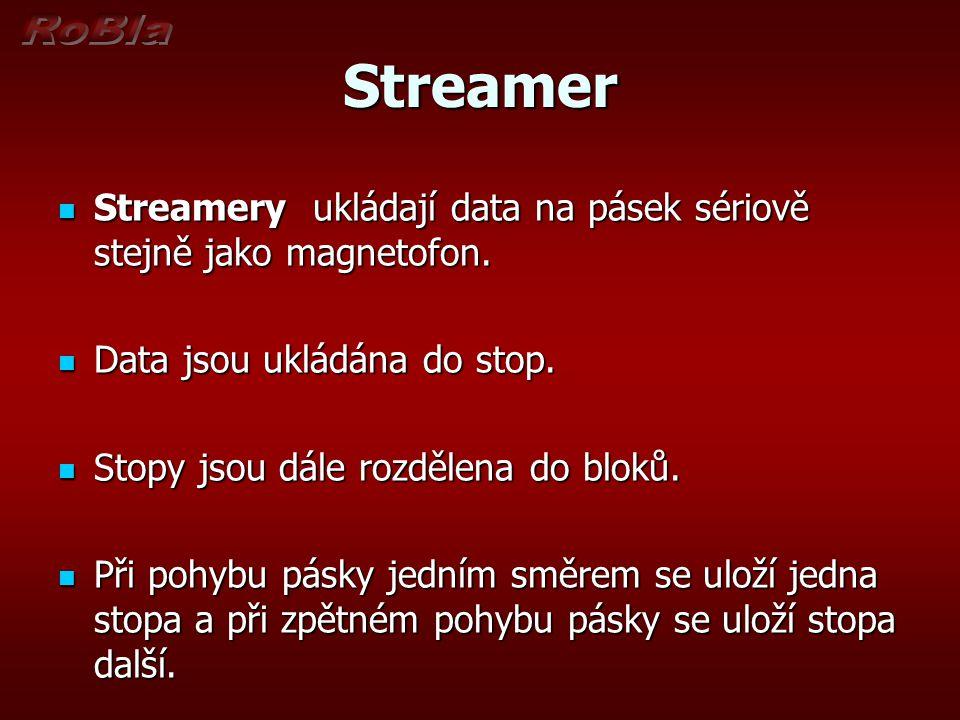 Streamer Streamery ukládají data na pásek sériově stejně jako magnetofon. Data jsou ukládána do stop.