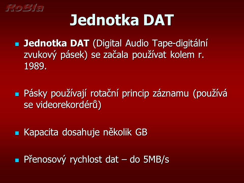 Jednotka DAT Jednotka DAT (Digital Audio Tape-digitální zvukový pásek) se začala používat kolem r. 1989.