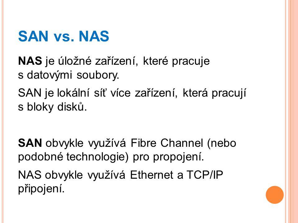SAN vs. NAS NAS je úložné zařízení, které pracuje s datovými soubory.