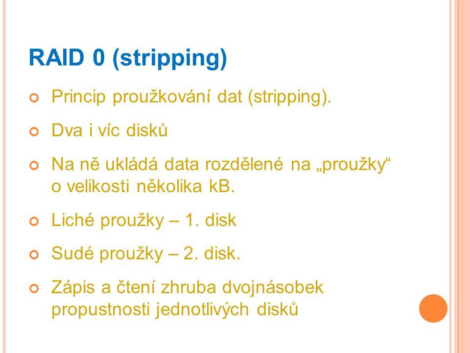 RAID 0 (stripping) Princip proužkování dat (stripping).