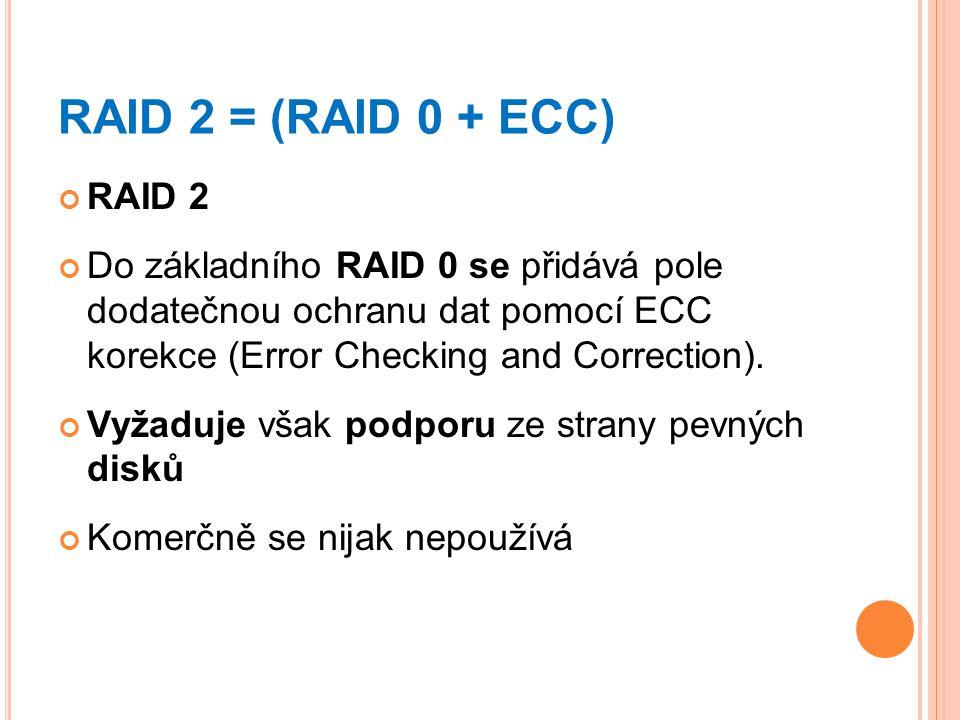 RAID 2 = (RAID 0 + ECC) RAID 2. Do základního RAID 0 se přidává pole dodatečnou ochranu dat pomocí ECC korekce (Error Checking and Correction).