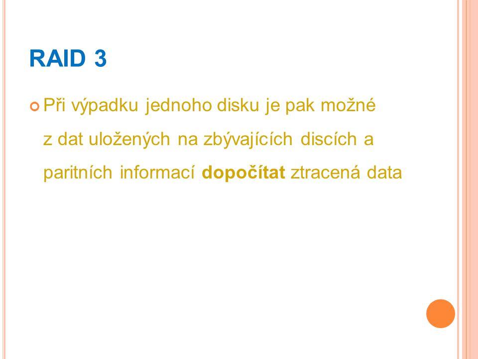 RAID 3 Při výpadku jednoho disku je pak možné z dat uložených na zbývajících discích a paritních informací dopočítat ztracená data.