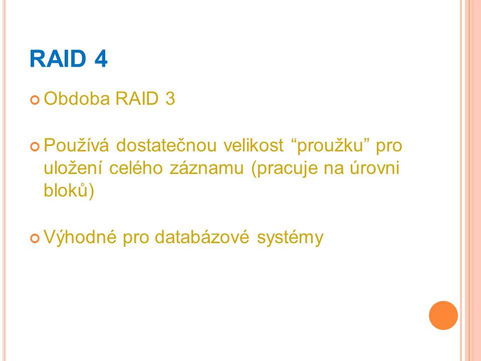 RAID 4 Obdoba RAID 3. Používá dostatečnou velikost proužku pro uložení celého záznamu (pracuje na úrovni bloků)