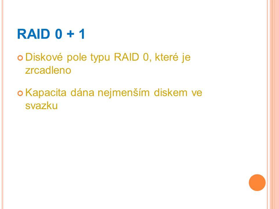 RAID 0 + 1 Diskové pole typu RAID 0, které je zrcadleno