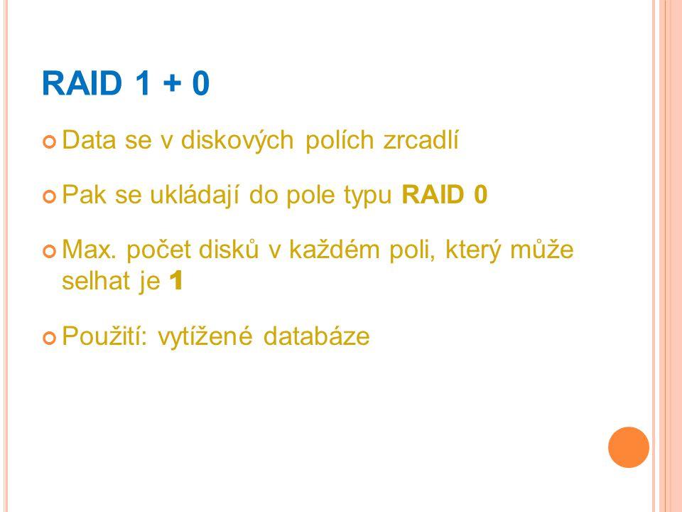 RAID 1 + 0 Data se v diskových polích zrcadlí