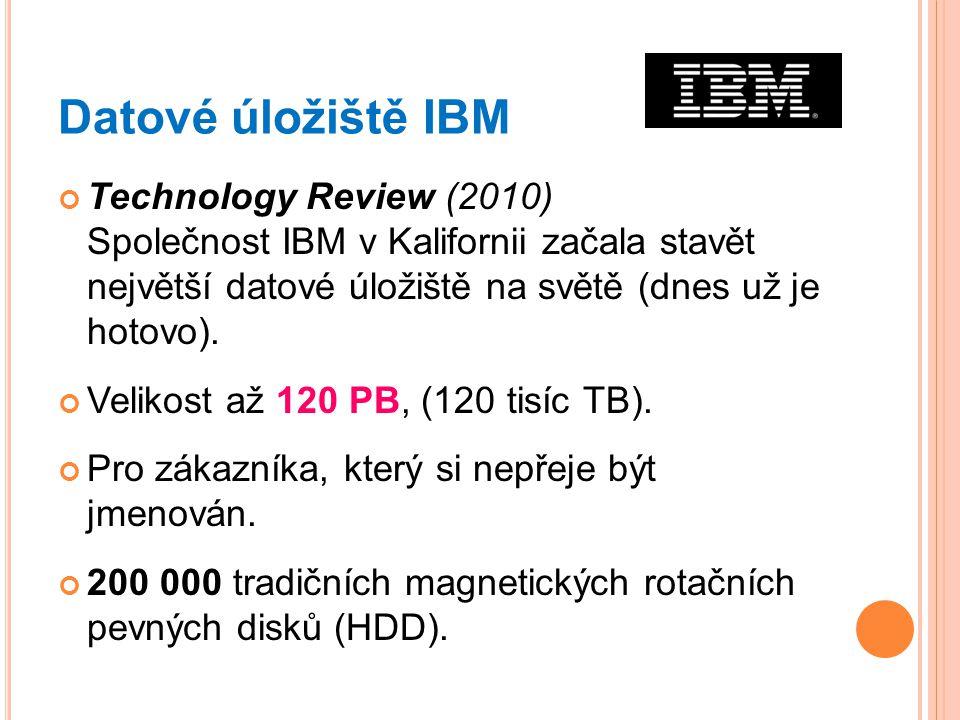 Datové úložiště IBM Technology Review (2010) Společnost IBM v Kalifornii začala stavět největší datové úložiště na světě (dnes už je hotovo).
