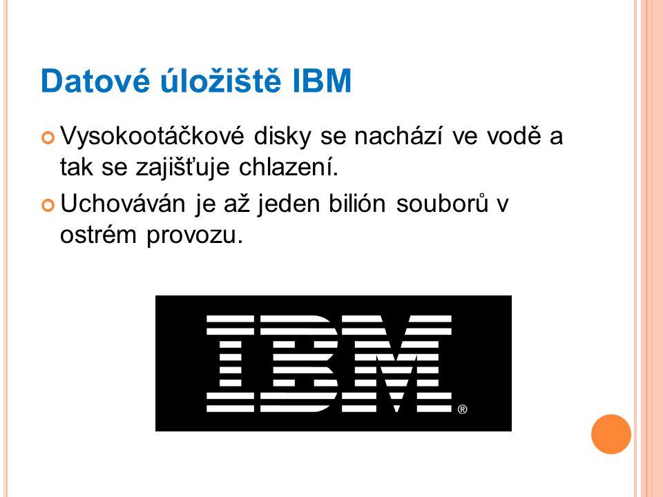 Datové úložiště IBM Vysokootáčkové disky se nachází ve vodě a tak se zajišťuje chlazení.