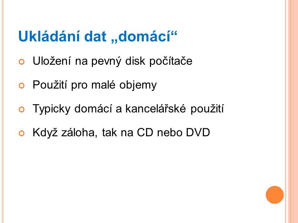 """Ukládání dat """"domácí Uložení na pevný disk počítače"""