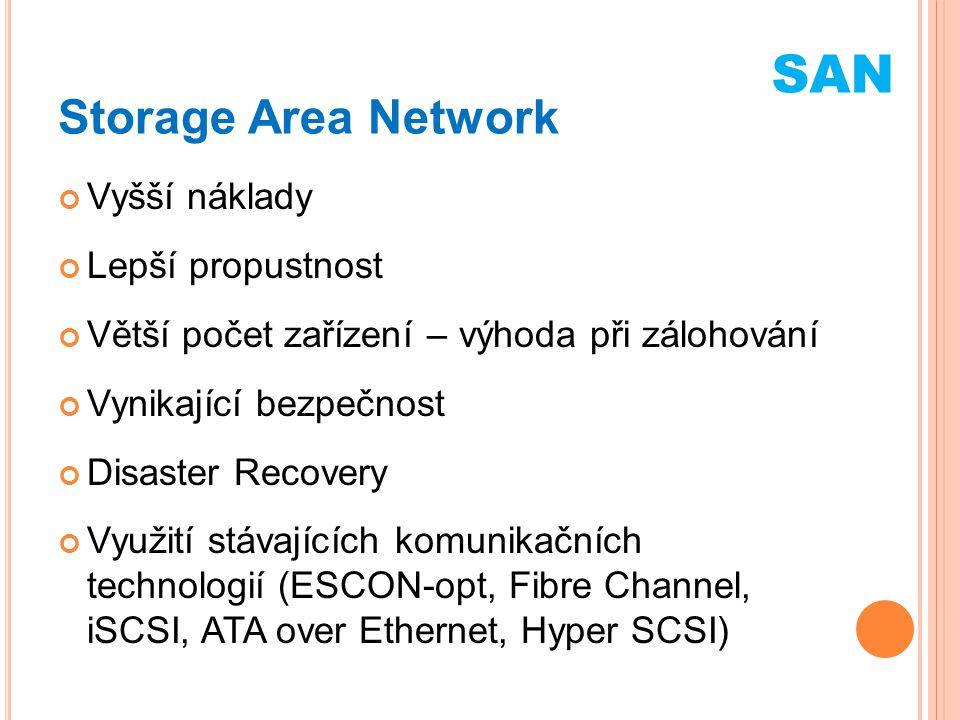 SAN Storage Area Network Vyšší náklady Lepší propustnost