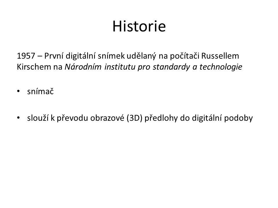 Historie 1957 – První digitální snímek udělaný na počítači Russellem Kirschem na Národním institutu pro standardy a technologie.