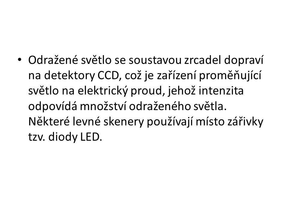 Odražené světlo se soustavou zrcadel dopraví na detektory CCD, což je zařízení proměňující světlo na elektrický proud, jehož intenzita odpovídá množství odraženého světla.
