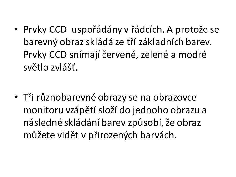 Prvky CCD uspořádány v řádcích