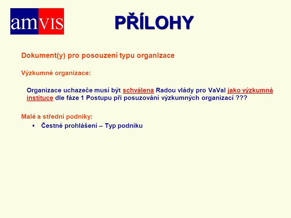 PŘÍLOHY Dokument(y) pro posouzení typu organizace Výzkumné organizace: