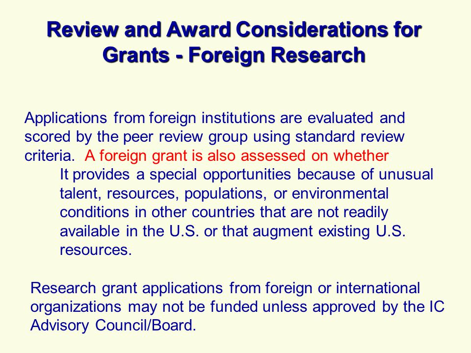 Review and Award Considerations for Grants - Foreign Research