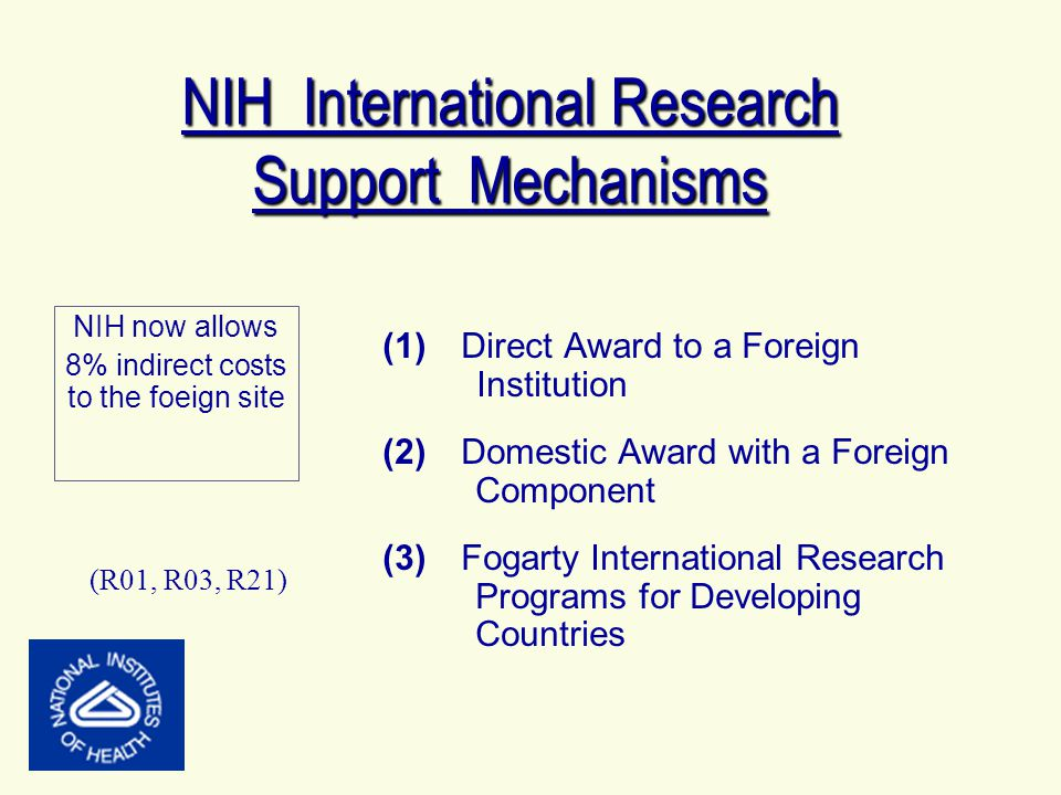 NIH International Research Support Mechanisms