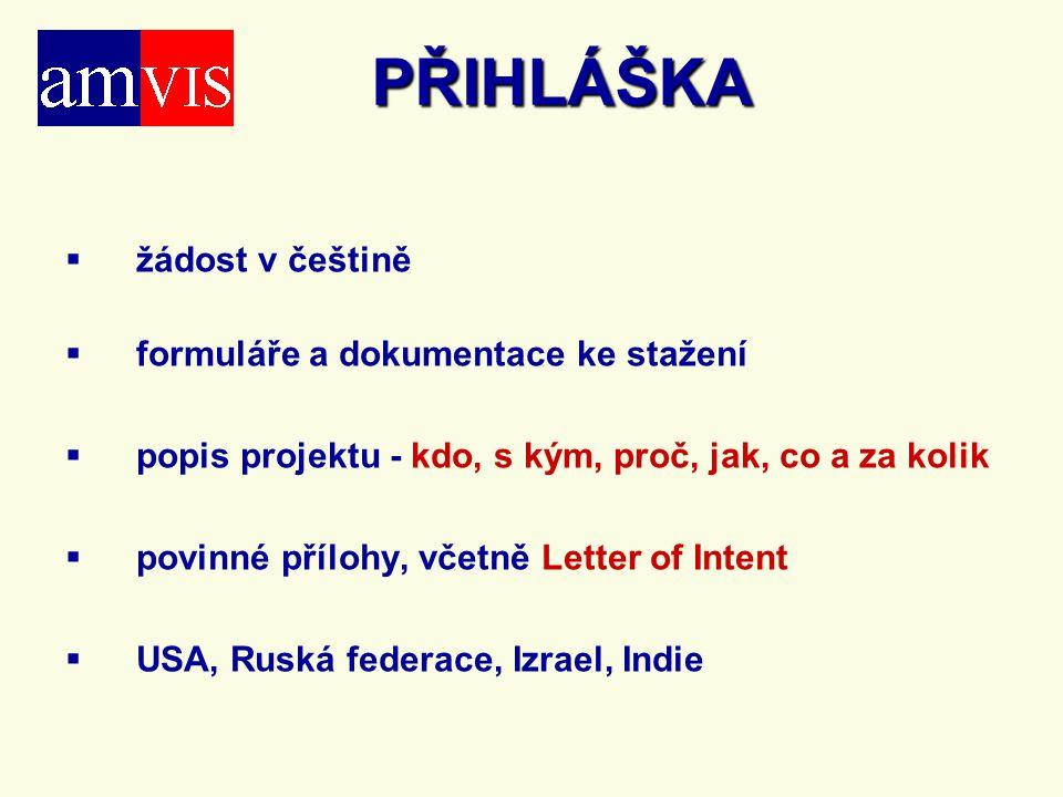 PŘIHLÁŠKA žádost v češtině formuláře a dokumentace ke stažení