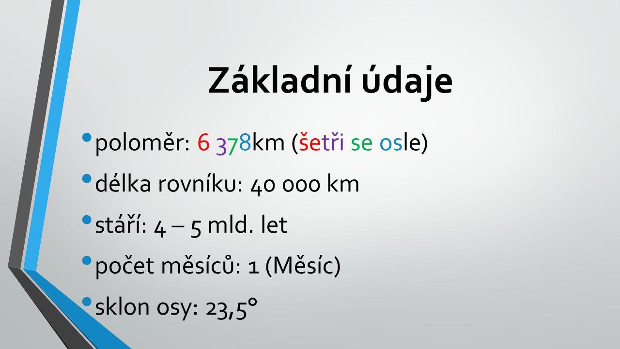 Základní údaje poloměr: 6 378km (šetři se osle)