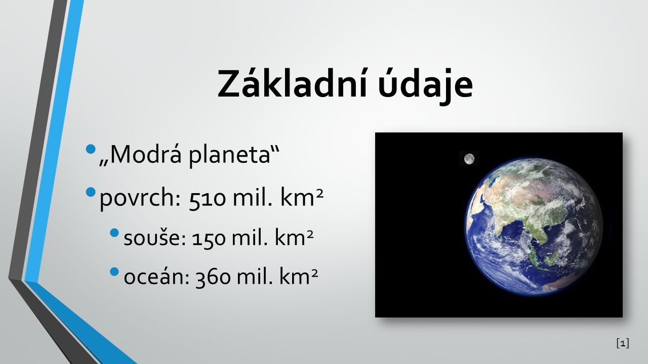 "Základní údaje ""Modrá planeta povrch: 510 mil. km2"