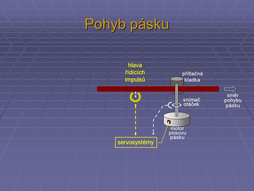 Pohyb pásku hlava řídících impulsů servosystémy přítlačná kladka směr