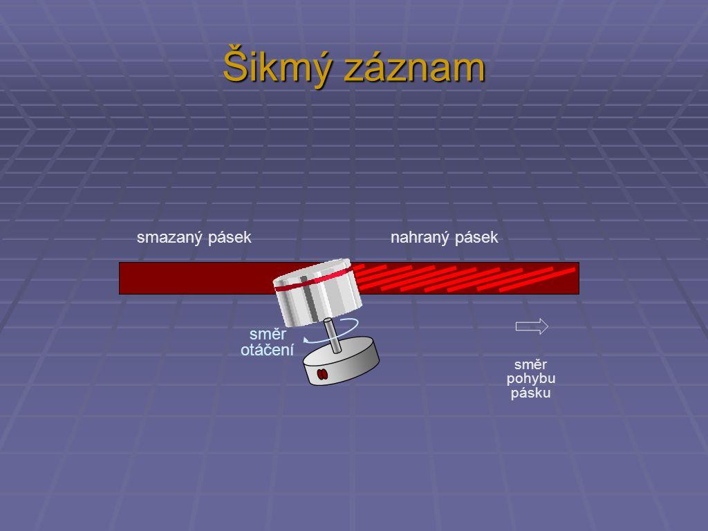 Šikmý záznam smazaný pásek nahraný pásek směr otáčení směr pohybu