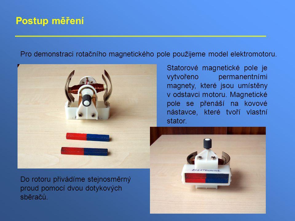 Postup měření Pro demonstraci rotačního magnetického pole použijeme model elektromotoru.