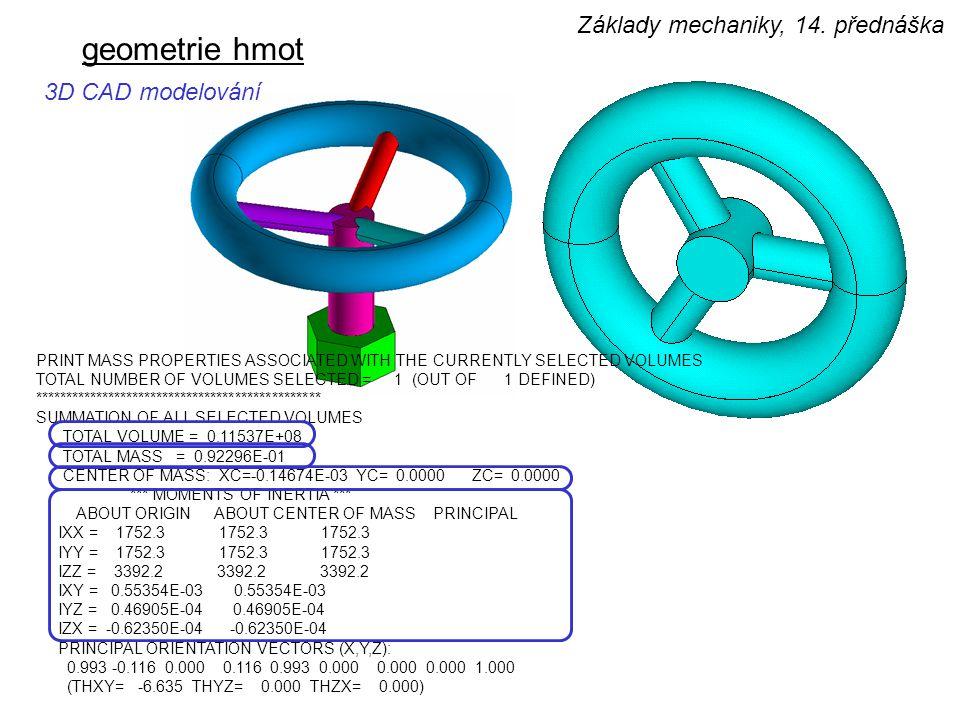 geometrie hmot Základy mechaniky, 14. přednáška 3D CAD modelování