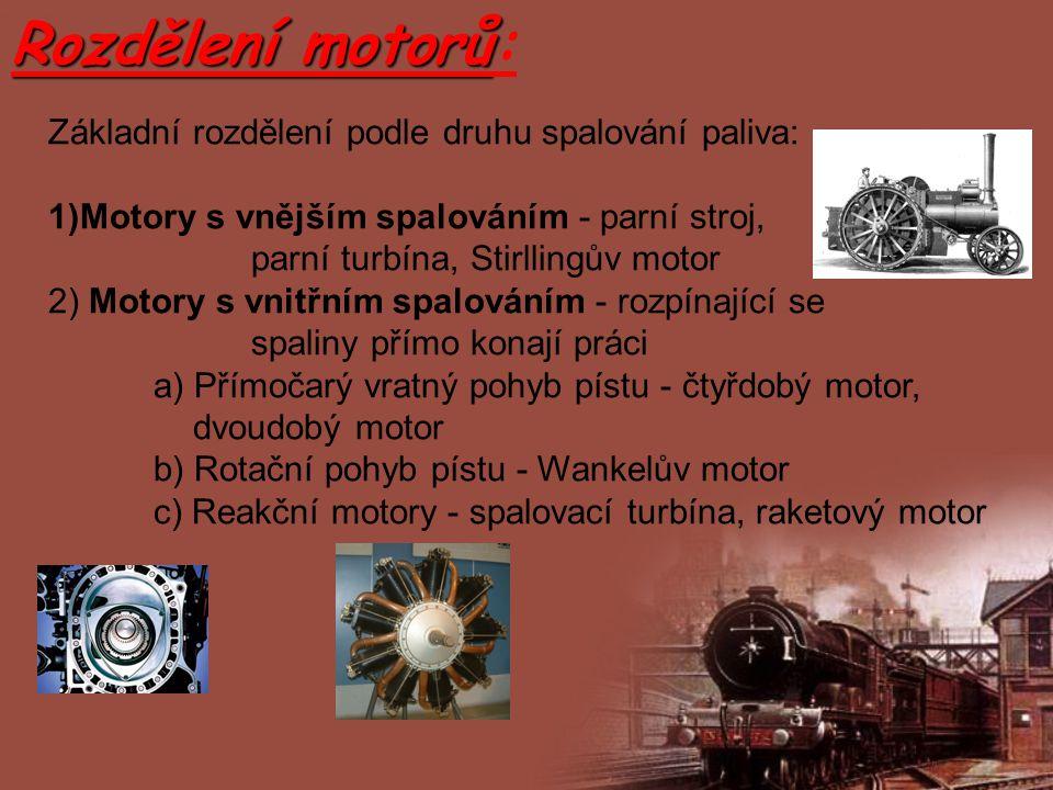Rozdělení motorů: Základní rozdělení podle druhu spalování paliva: