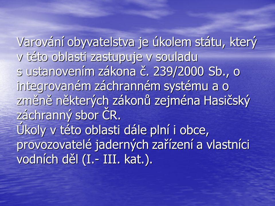 Varování obyvatelstva je úkolem státu, který v této oblasti zastupuje v souladu s ustanovením zákona č.