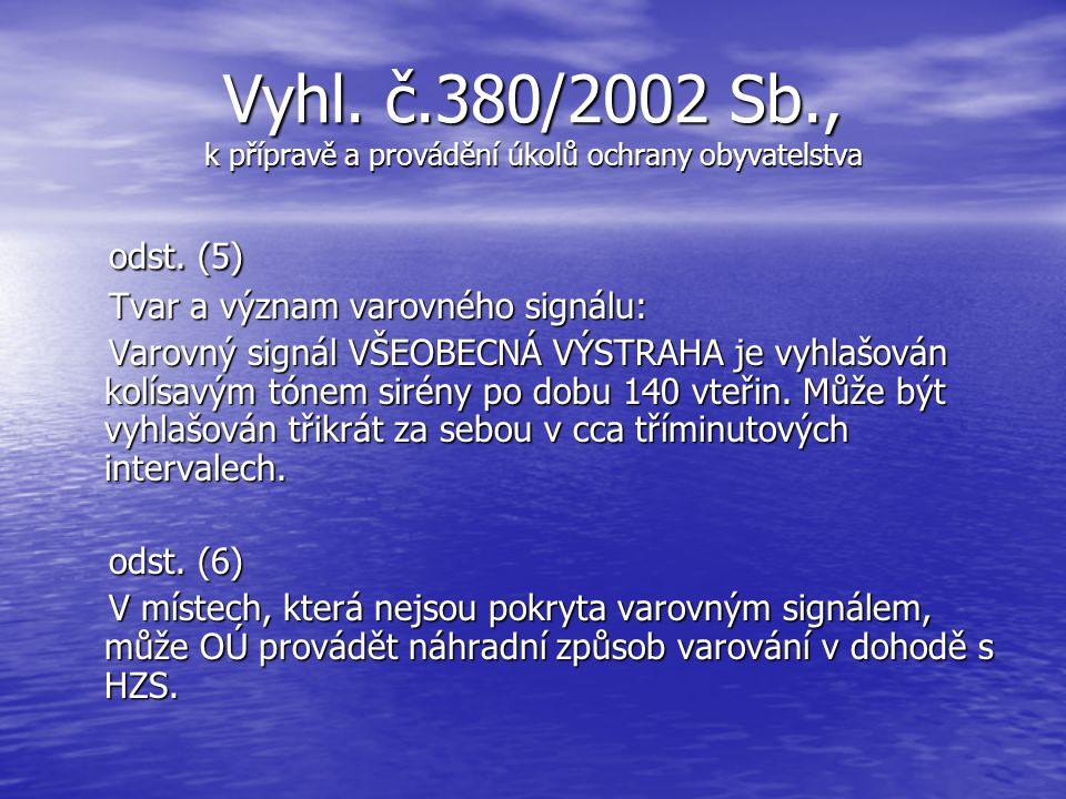 Vyhl. č.380/2002 Sb., k přípravě a provádění úkolů ochrany obyvatelstva