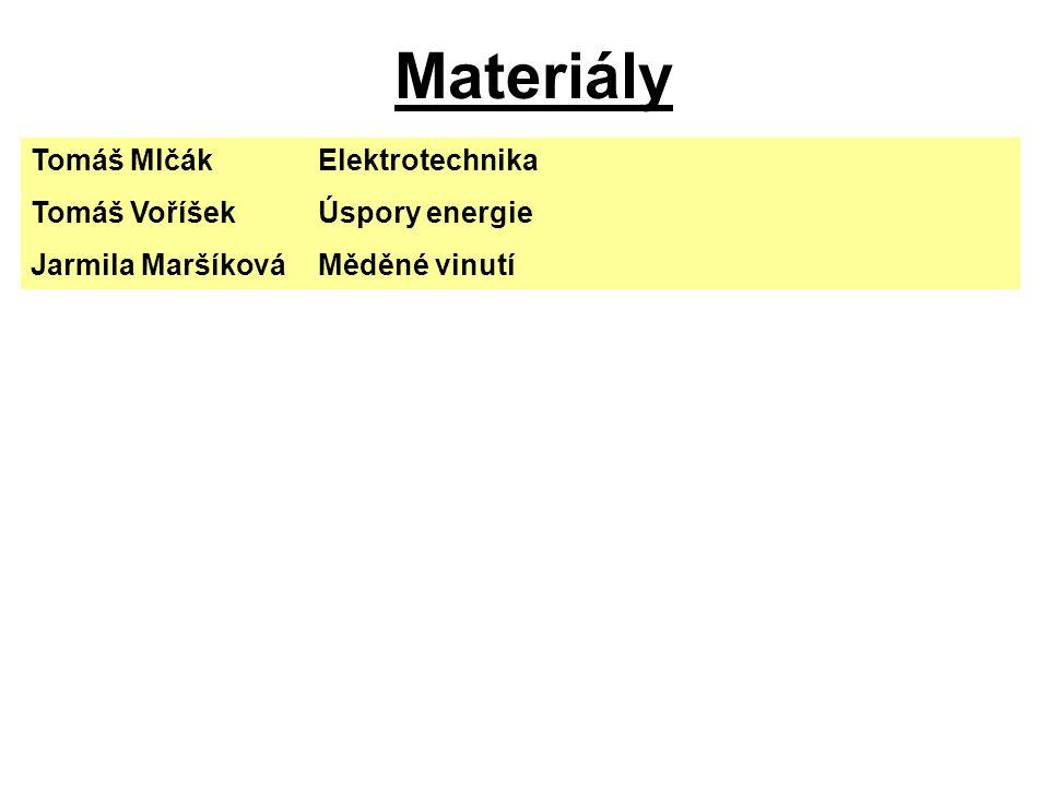 Materiály Tomáš Mlčák Elektrotechnika Tomáš Voříšek Úspory energie
