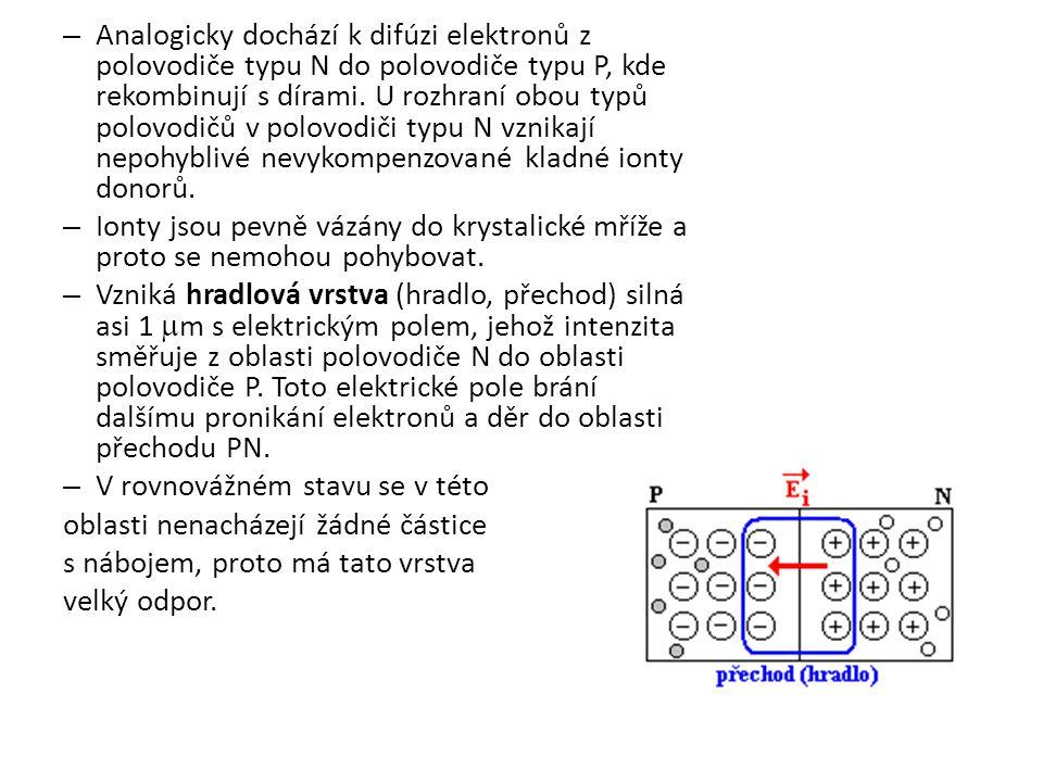 Analogicky dochází k difúzi elektronů z polovodiče typu N do polovodiče typu P, kde rekombinují s dírami. U rozhraní obou typů polovodičů v polovodiči typu N vznikají nepohyblivé nevykompenzované kladné ionty donorů.