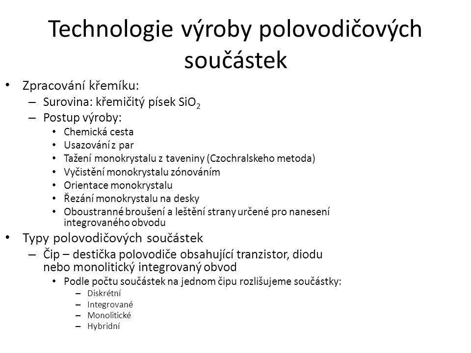 Technologie výroby polovodičových součástek