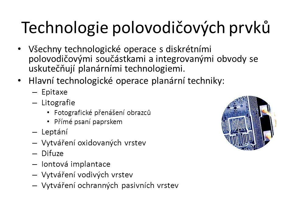 Technologie polovodičových prvků