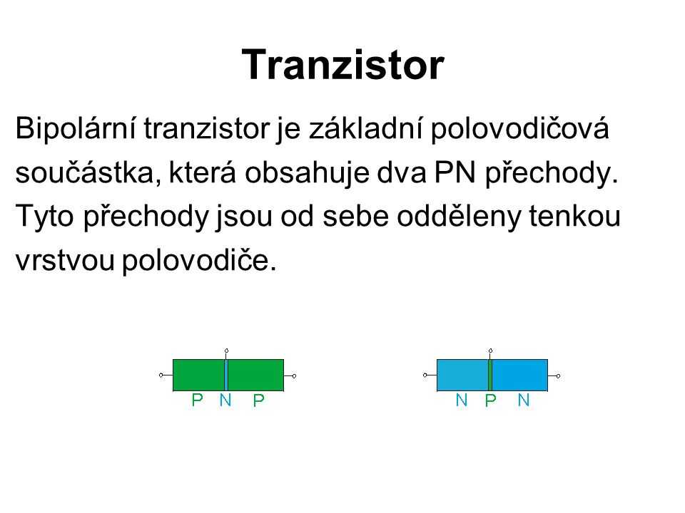Tranzistor Bipolární tranzistor je základní polovodičová