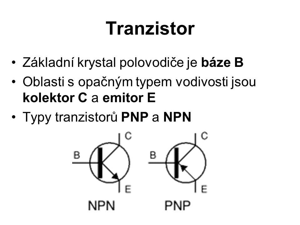 Tranzistor Základní krystal polovodiče je báze B