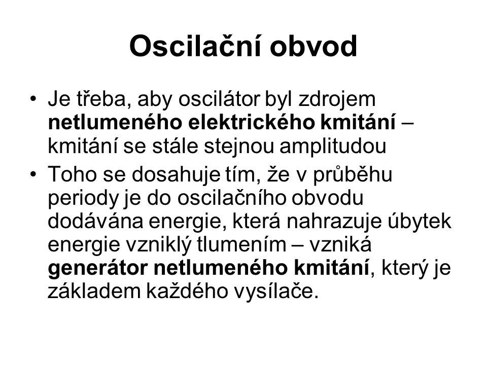Oscilační obvod Je třeba, aby oscilátor byl zdrojem netlumeného elektrického kmitání – kmitání se stále stejnou amplitudou.