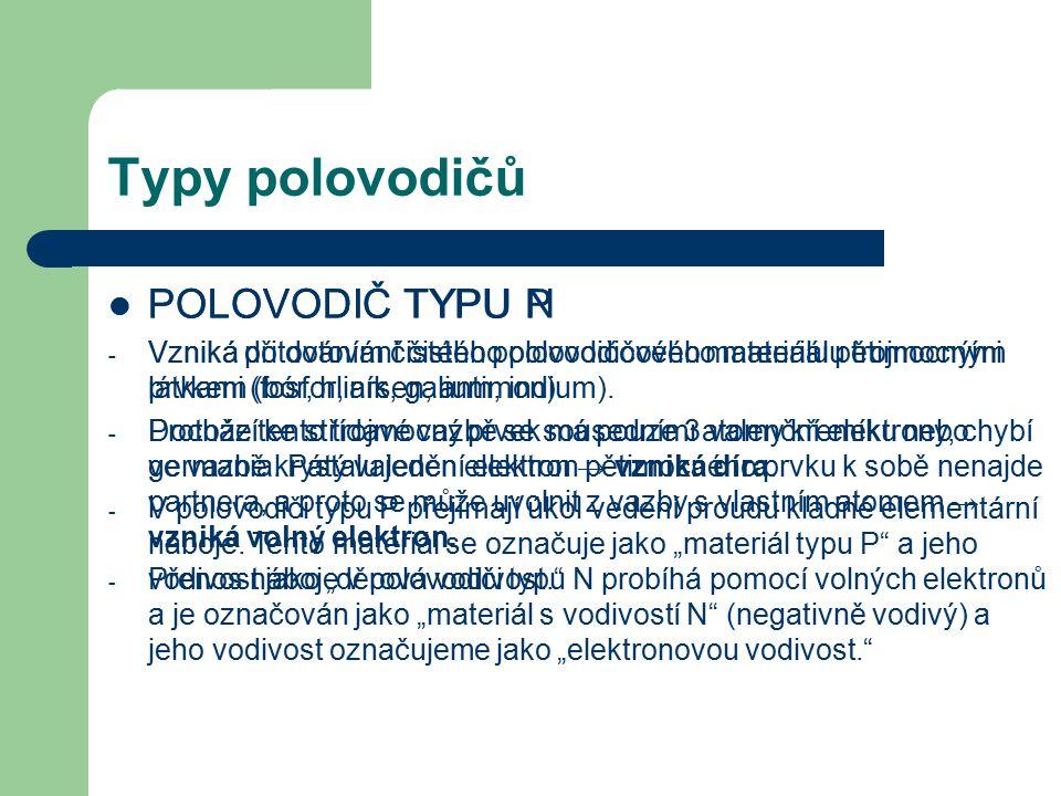 Typy polovodičů POLOVODIČ TYPU P POLOVODIČ TYPU N